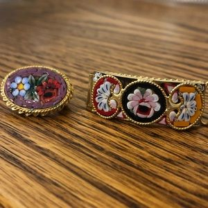 Set of TWO Micro Mosaic Pin Bracelet Italy Brooch